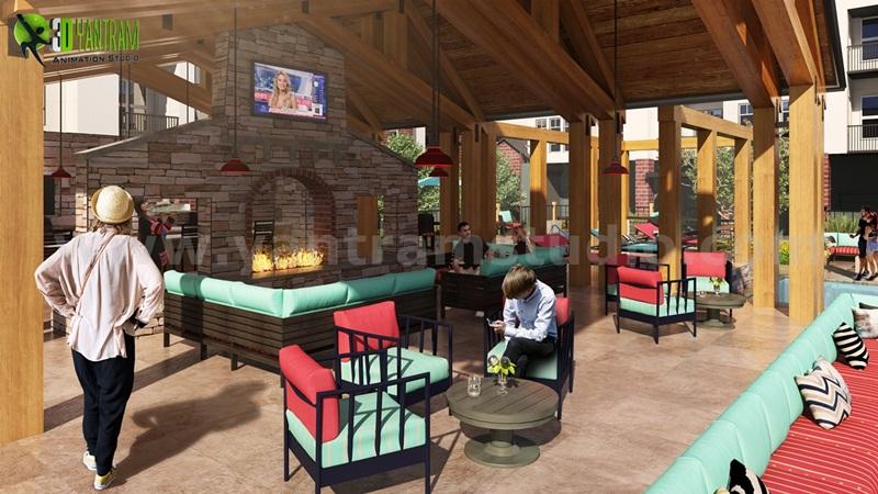 Modern Furniture Fireplace Courtyard Design Ideas