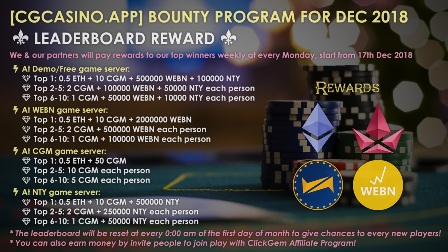 [CGCASINO.APP] BOUNTY PROGRAM FOR DEC 2018 🥁🥁🥁 | free Classified | Free Advertising | free classified ads