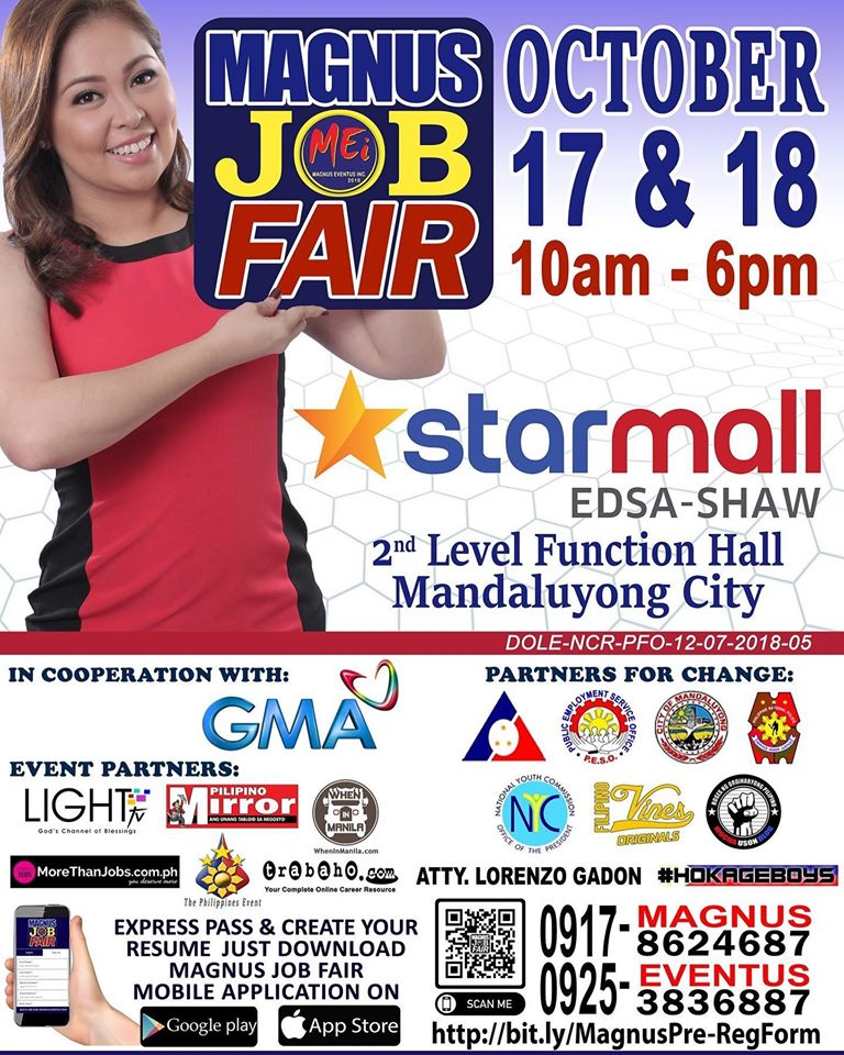 Magnus Job Fair @ Starmall EDSA-Shaw on October 17 & 18, 2019 | free Classified | Free Advertising | free classified ads