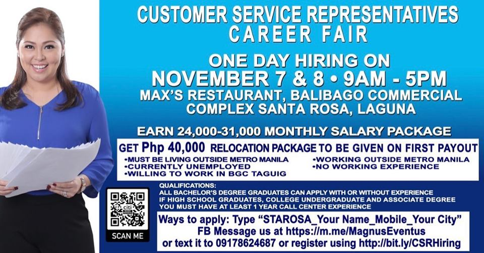One Day Hiring for Customer Service | free Classified | Free Advertising | free classified ads